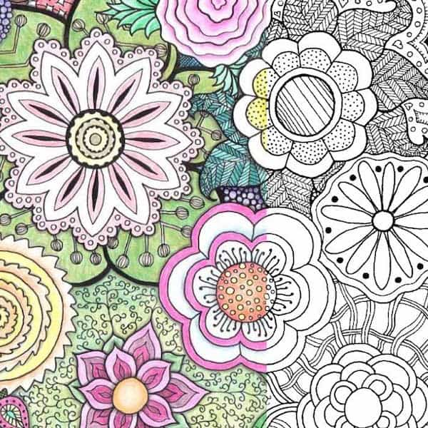 Zentangle flowers free printable