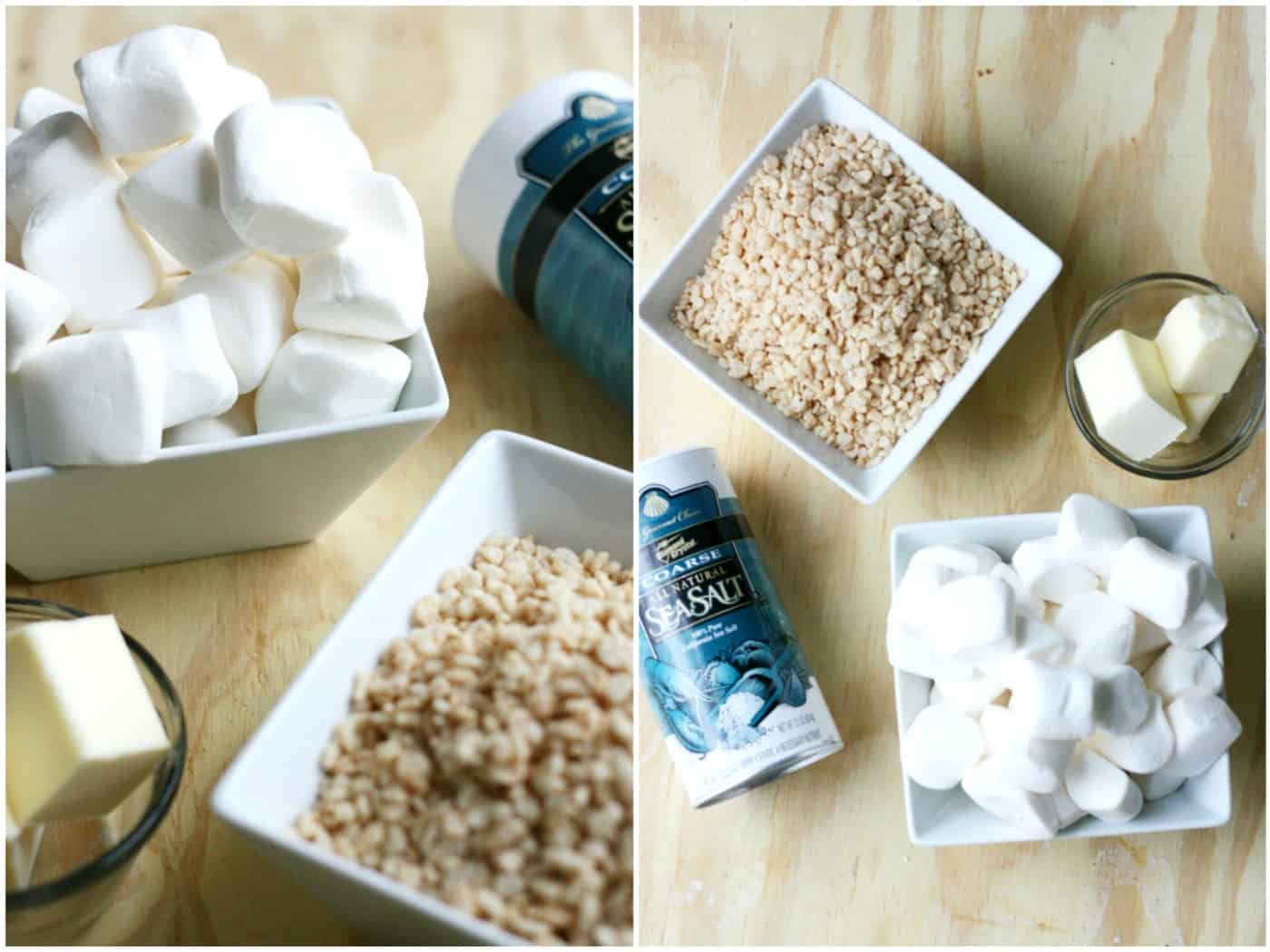 Rice krispies ingredients with sea salt and brown butter