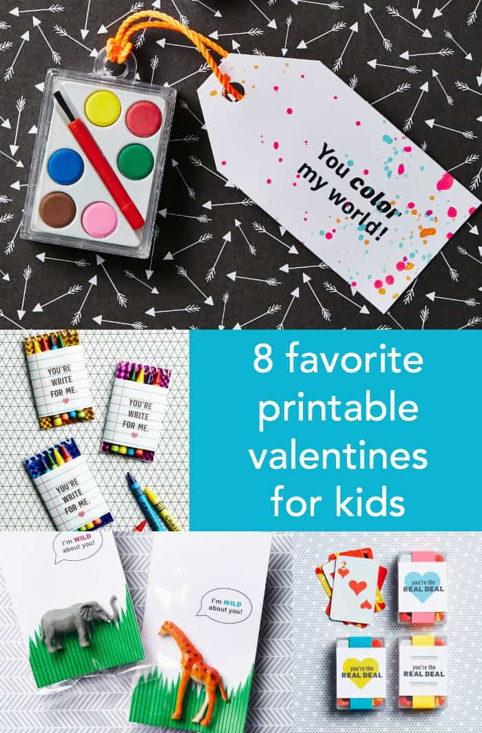 Get eight free printable valentines for kids - these are easy to assemble and candy free! You'll have your kids' classmates covered in minutes.