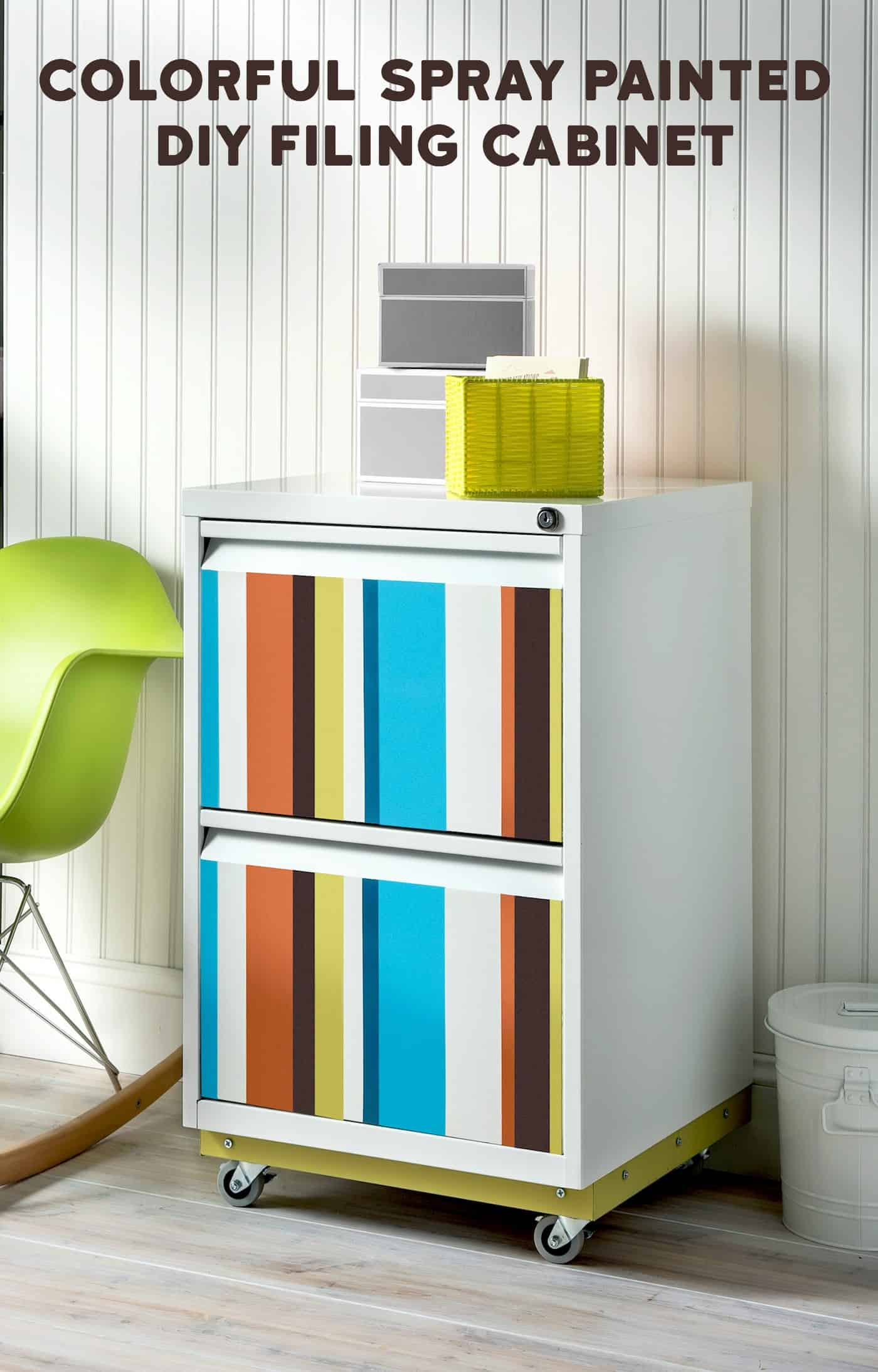 In this easy DIY file cabinet revamp, we took a thrift store find and made it over with existing spray paint. The whole project cost less than $10! If you want to add wheels - I'll show you how to do that too. Click through to see!