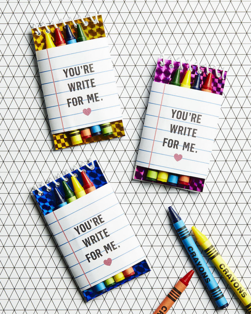 Crayons and Note Pads for Valentine's Day