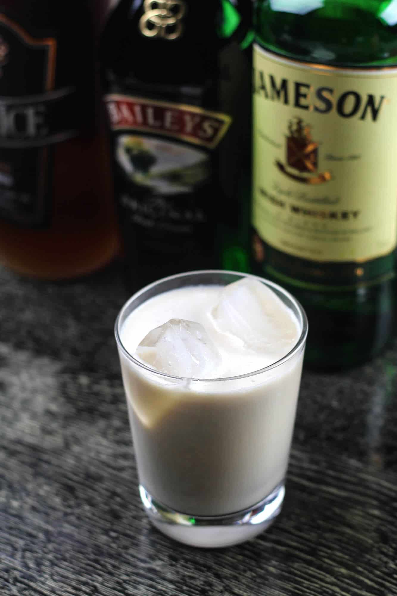 White leprechaun in a glass - white Russian cocktail with whiskey instead of vodka