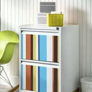 Colorful Striped DIY File Cabinet