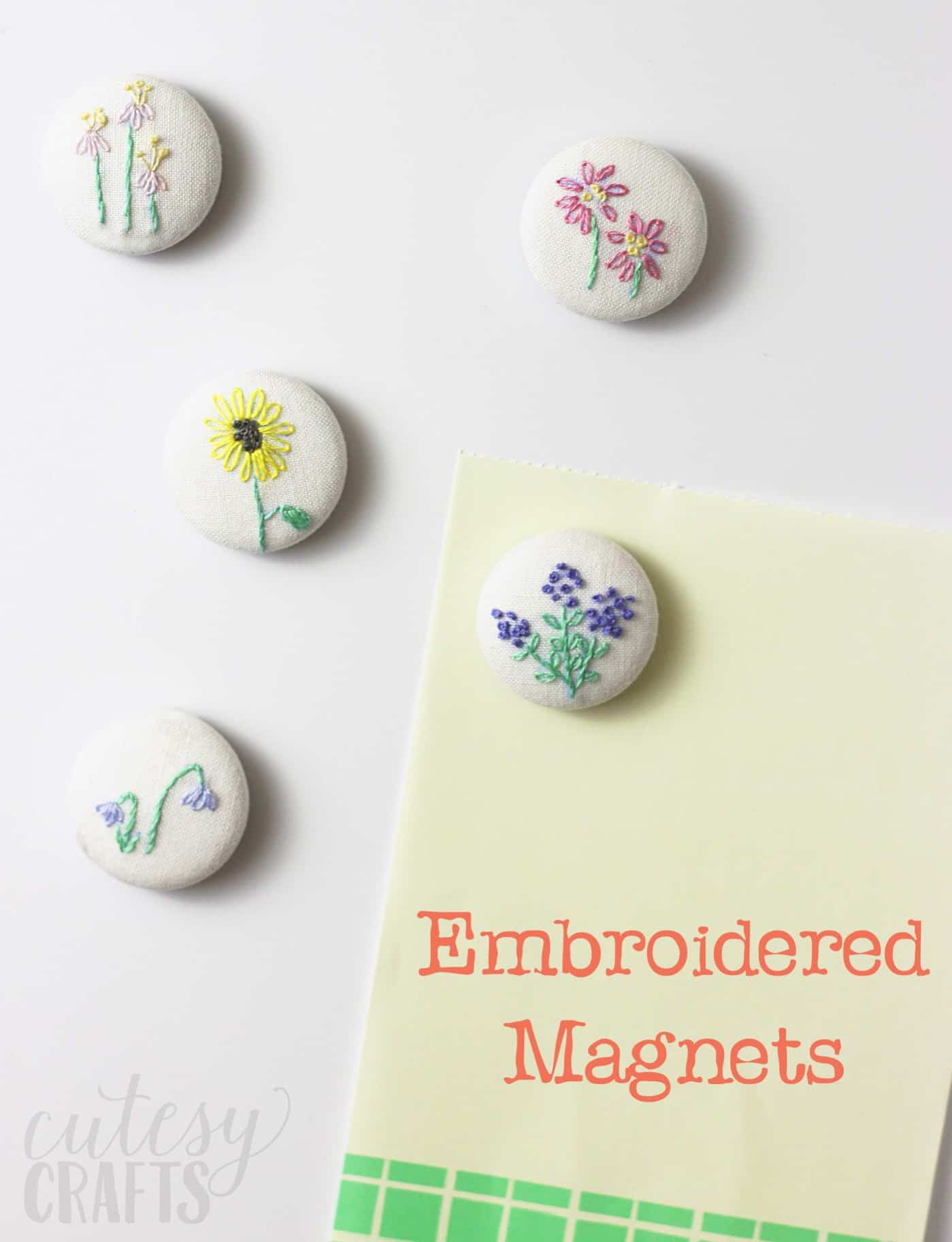 If you love the look of hand embroidery, these DIY magnets are perfect for you. The delicate floral pattern is so pretty! These make great gifts too.