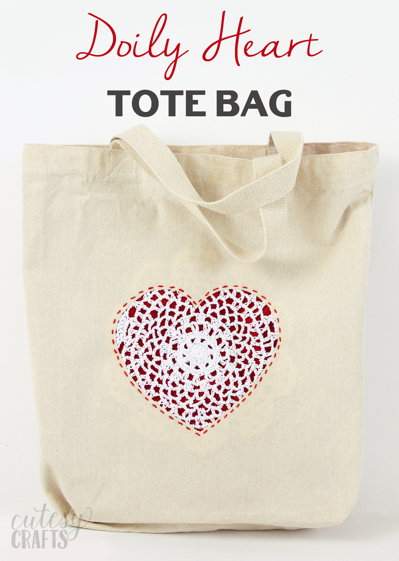 Make this DIY tote bag using scrap fabric and a reverse appliqué technique. This sweet heart is perfect for Valentine's Day or any time of year!