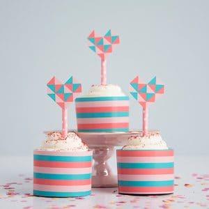 Geometric Heart Printable Cupcake Toppers