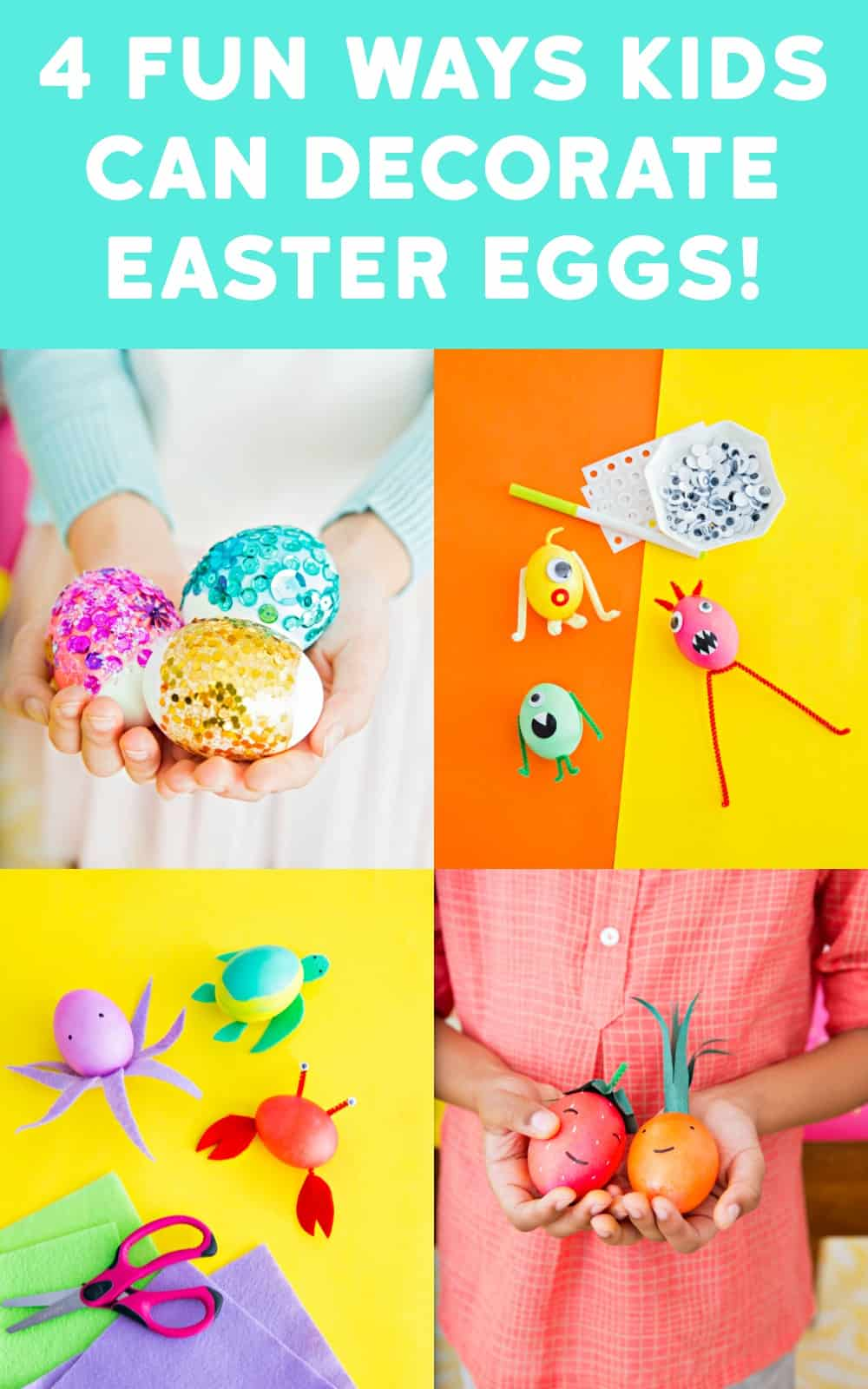 Here are four fun and colorful ways to decorate Easter eggs that kids will love. Use these ideas for a holiday party - you'll love seeing their creations!