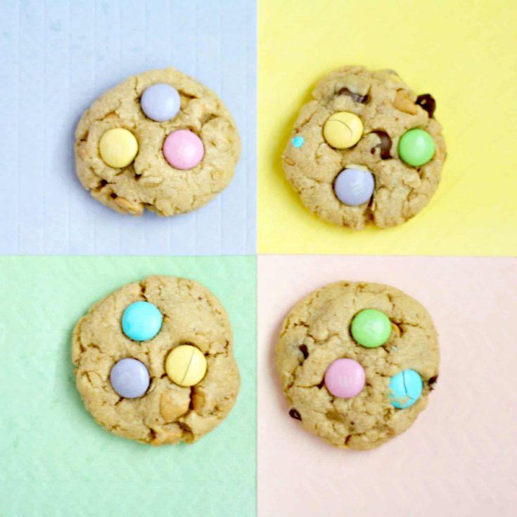 pastel m&m cookies