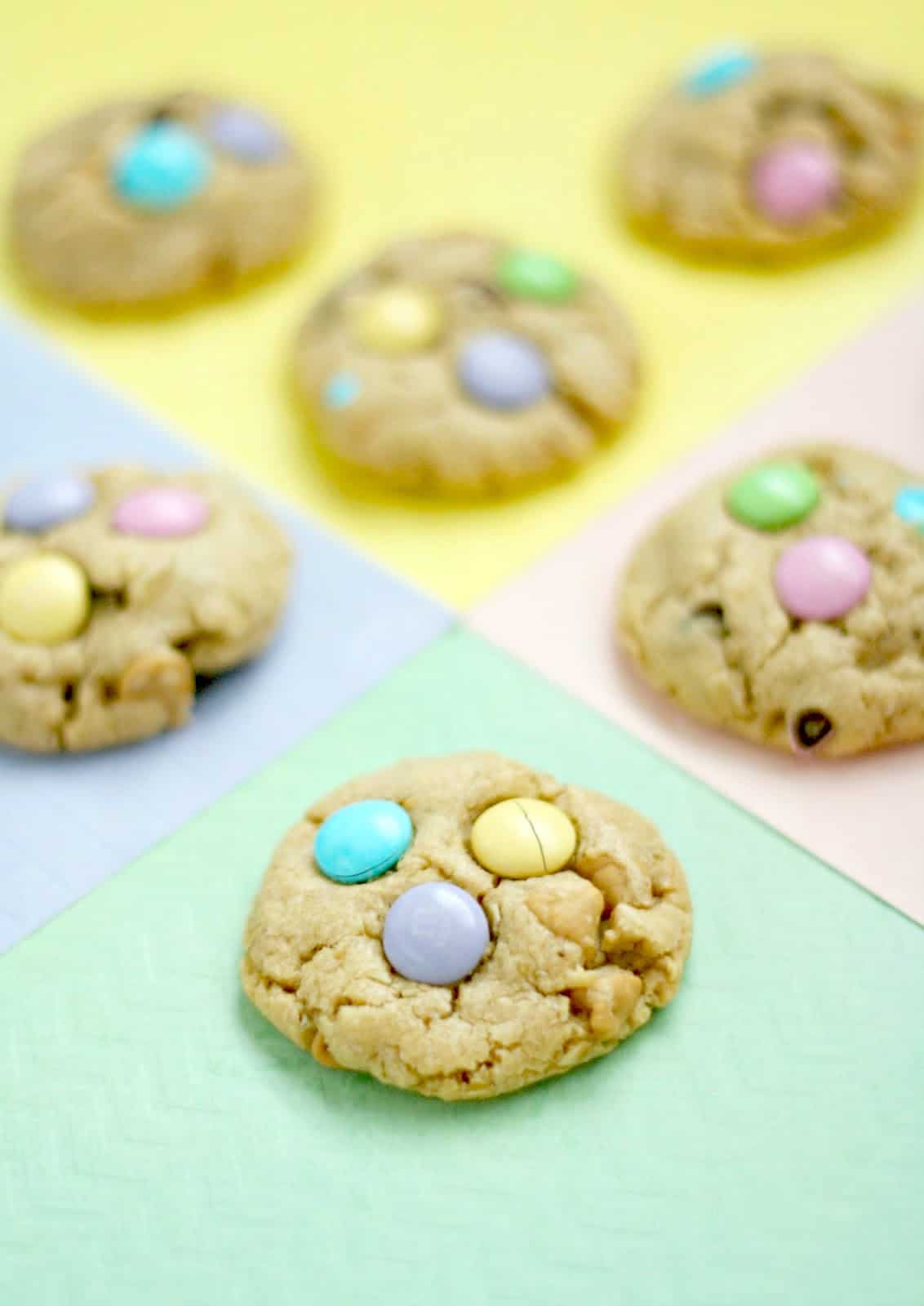 Peanut butter and M&M loaded cookies