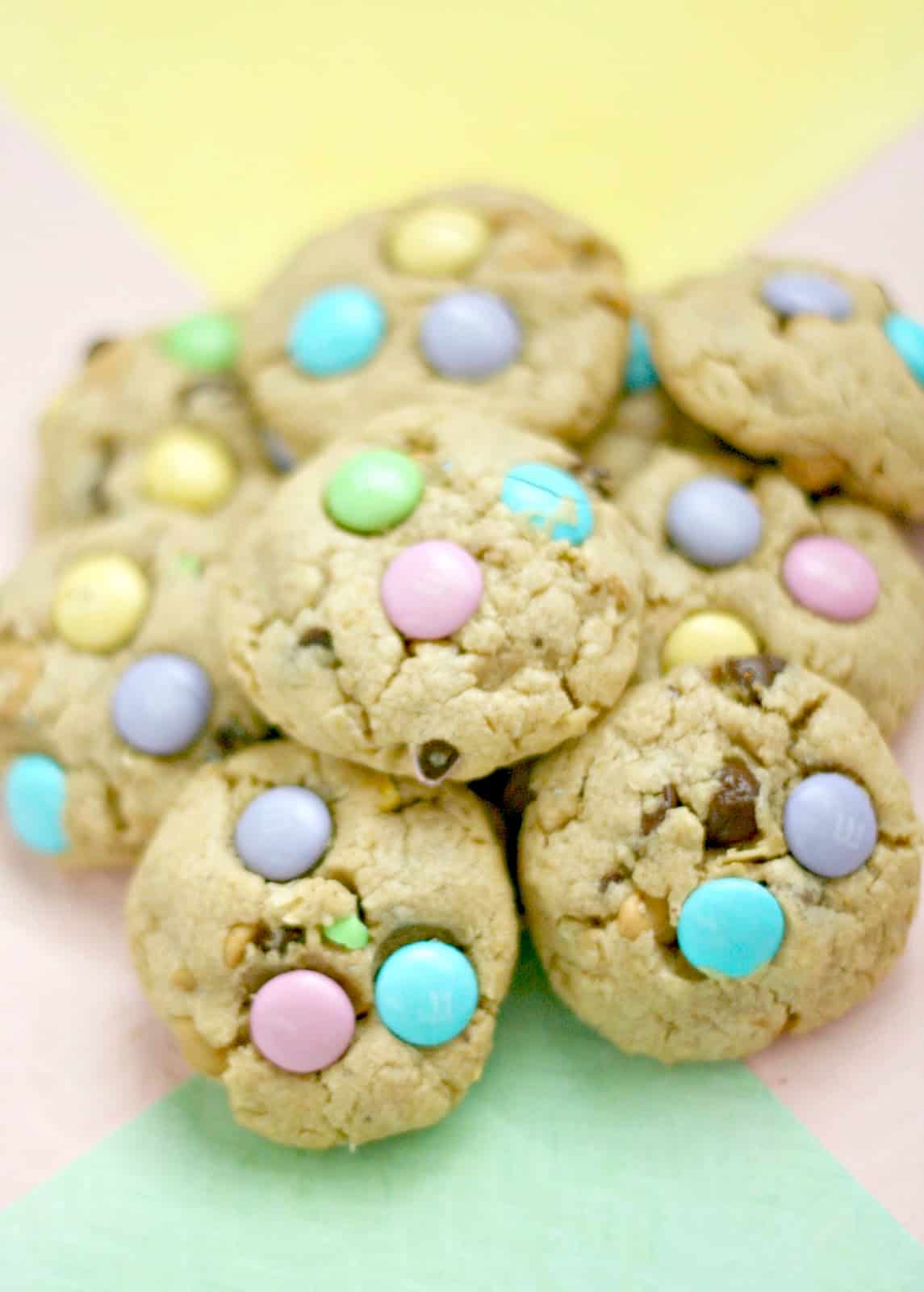 Pile of peanut butter M&M cookies