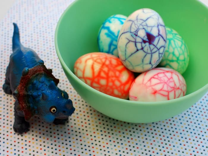 If you are looking for unique egg decorating ideas with your children, these rainbow eggs are for you. The colorful cracks are so neat, and kids love them!