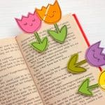 It's so easy to make these paint chip bookmarks that look like spring tulips. Kids will love this craft, and if you have old paint chips . . . it's free!