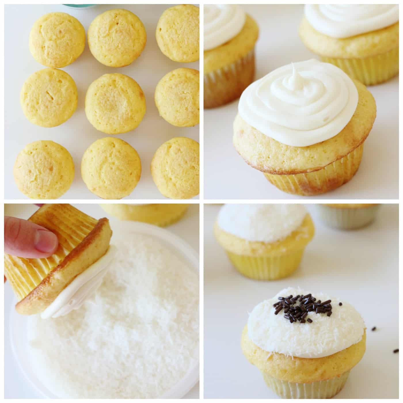 Dipping an iced vanilla cupcake in coconut
