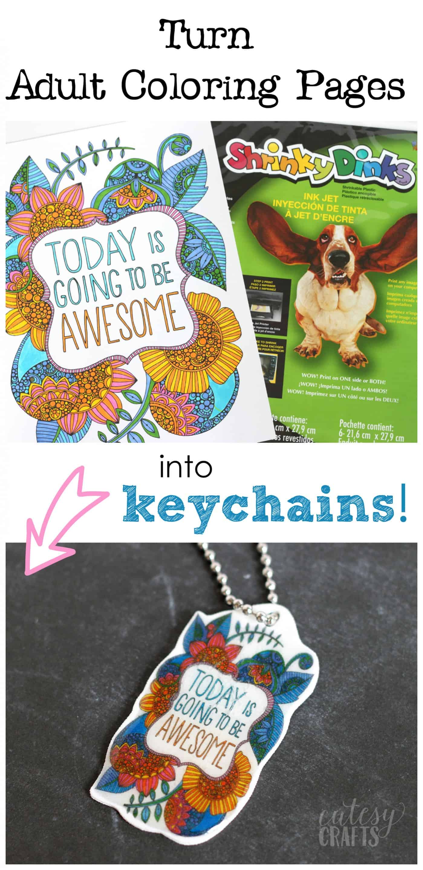 Easy Shrinky Dink Keychain with Coloring Pages