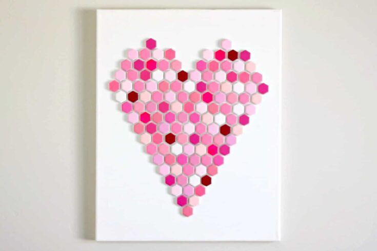 Heart Wall Art Made with Hexagon Tiles