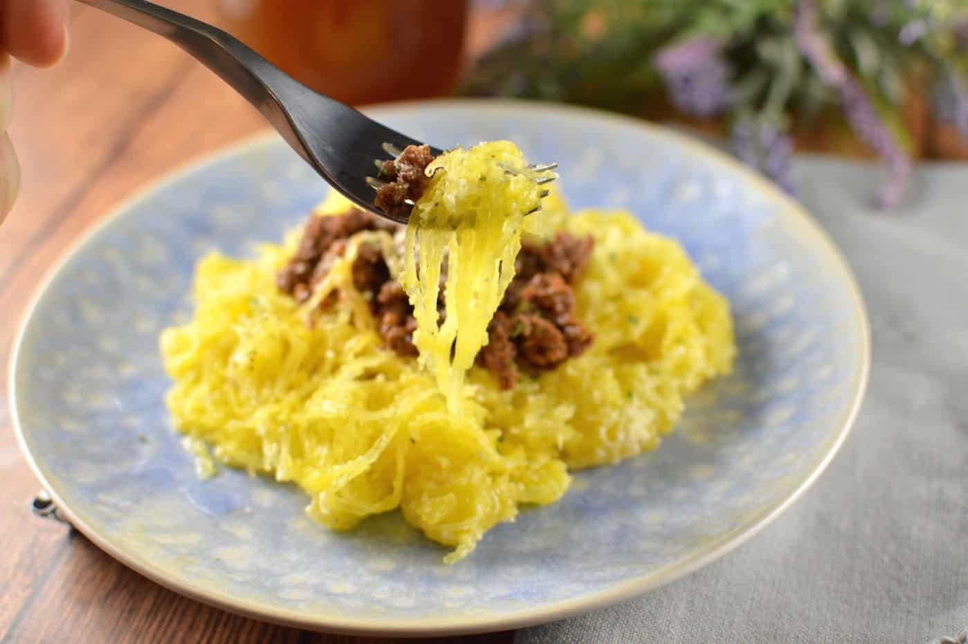 Instant Pot spaghetti squash with ground meat sauce pasta substitute