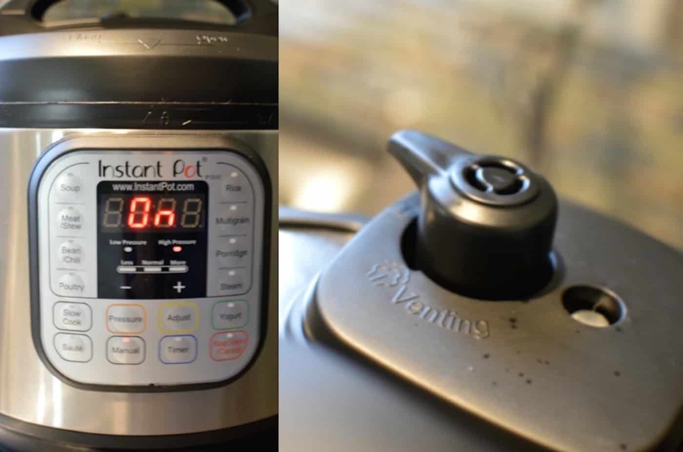 Instant Pot with the top valve closed on the Manual setting