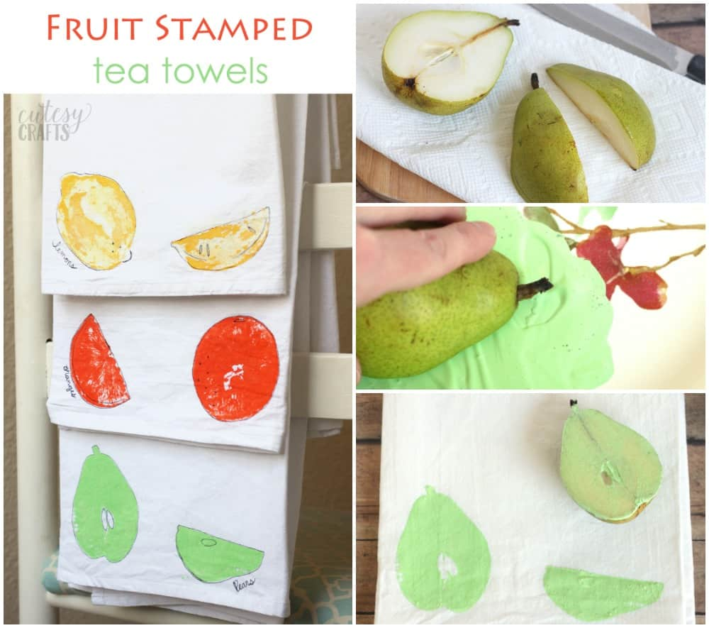 Use a fun fruit stamping technique to decorate some plain tea towels. These make great gifts and they are so easy - even a kid can make them!