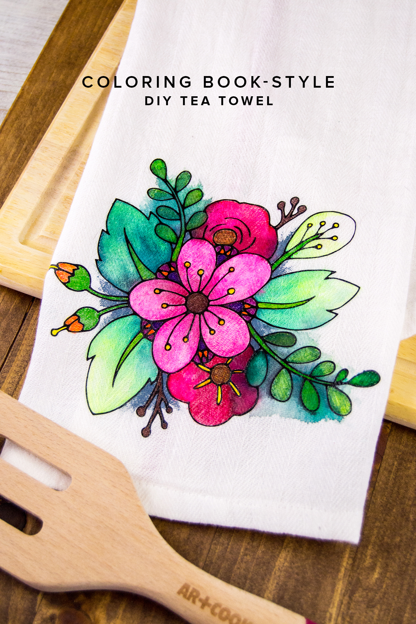 Floral Coloring Book Styled DIY Tea Towel diycandy