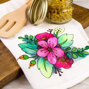 Floral Coloring Book Styled DIY Tea Towel