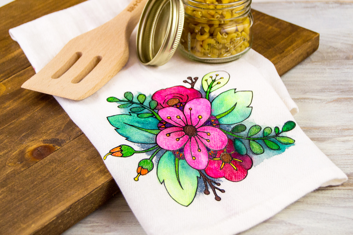 Floral Coloring Book Styled DIY Tea Towel - DIY Candy