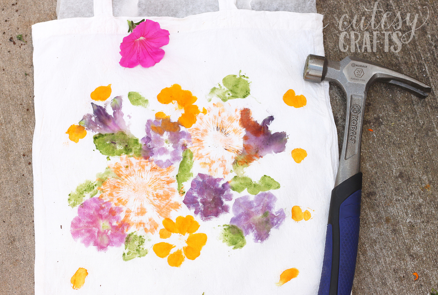 Did you know that you can dye fabric by pounding flowers? This unique craft project makes a perfect Mother's Day gift - and the kids will love creating it!