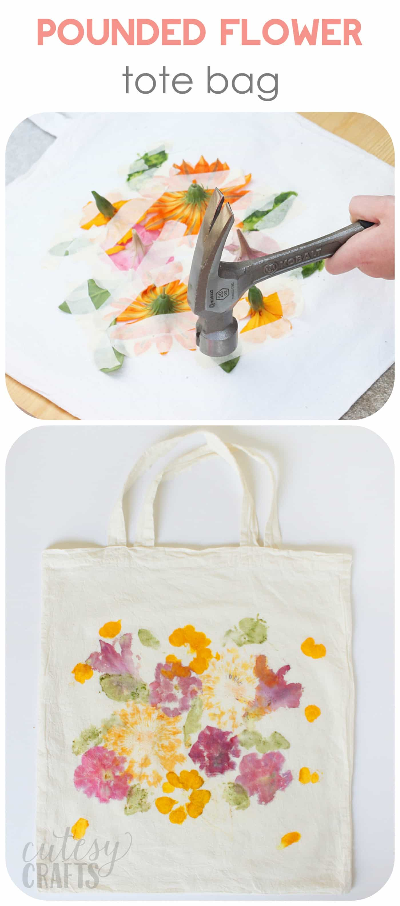 Tote made with flower pounding