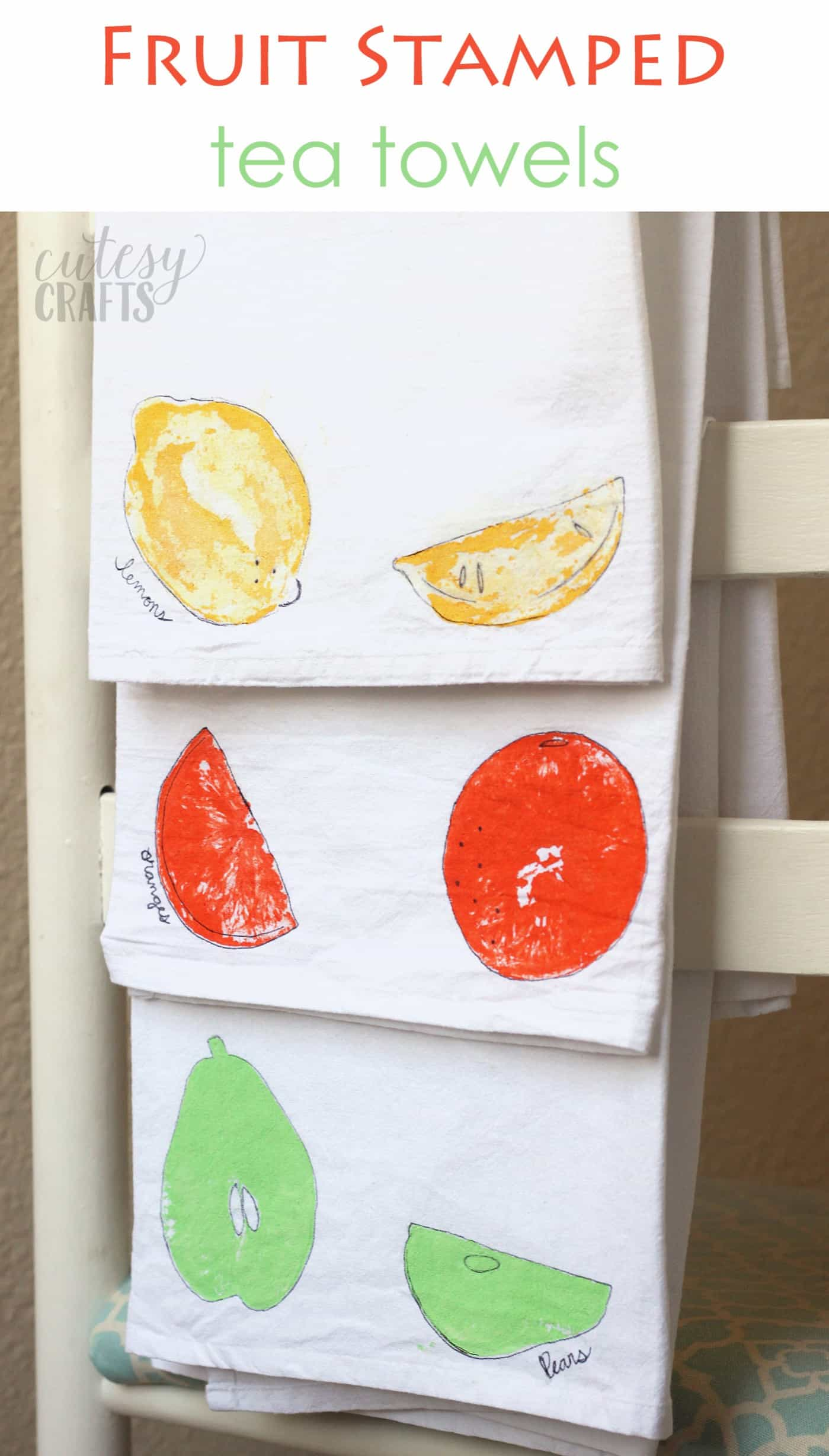 EASY Fruit Stamping on Tea Towels