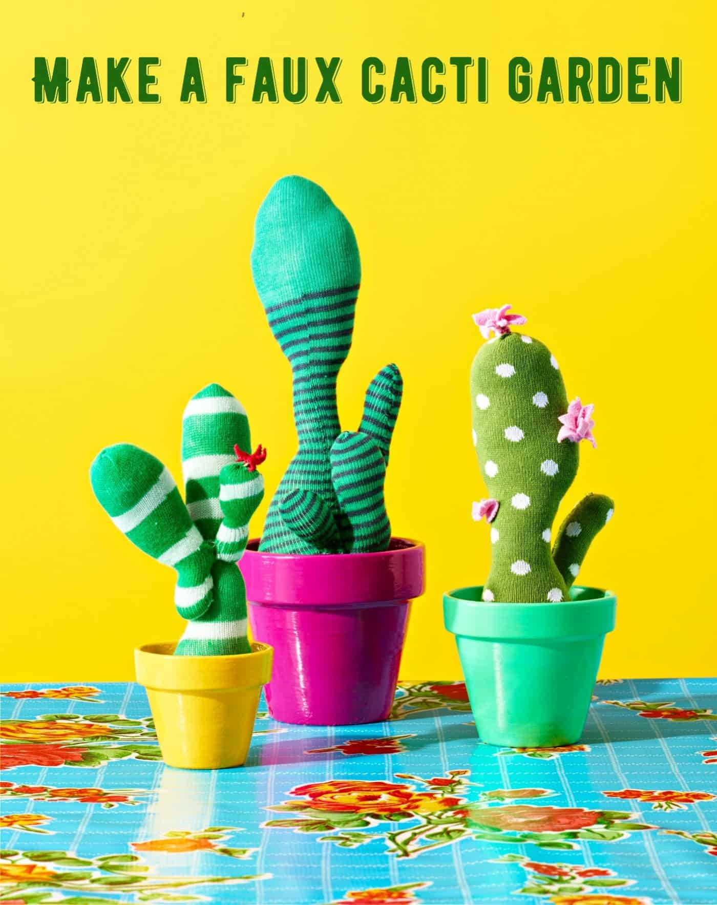 Learn how to make the most fun faux cacti ever using socks! These are perfect for those castaways without a match. You'll love your quirky garden!