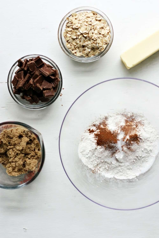 Oat chocolate chip cookies ingredients