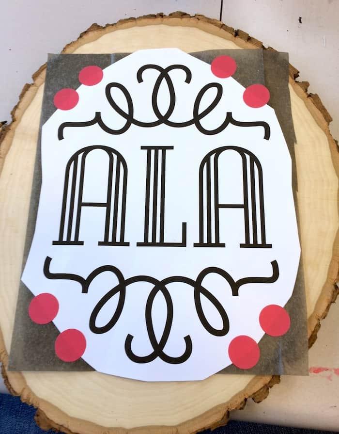 Transfering a monogram design to wood