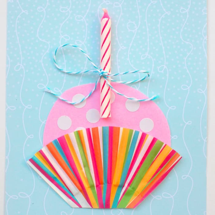Instead of giving out store bought cards, try mixing things up with a handmade one. Isn't this cupcake DIY birthday card super cute and fun?