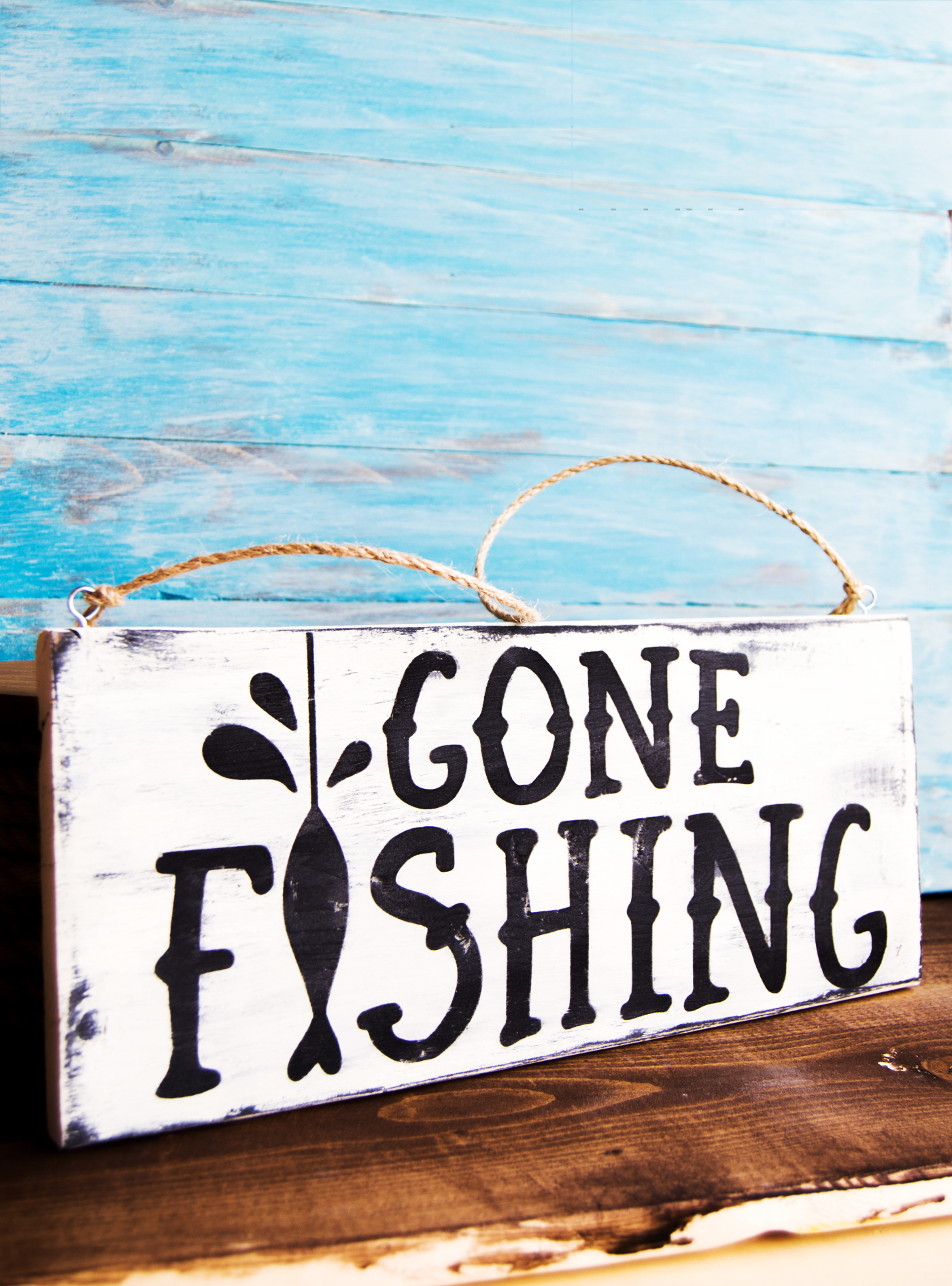 Gone Fishing Wood Sign made with a Silhouette