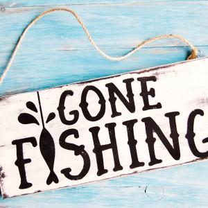 Gone Fishing Mini Wood Sign