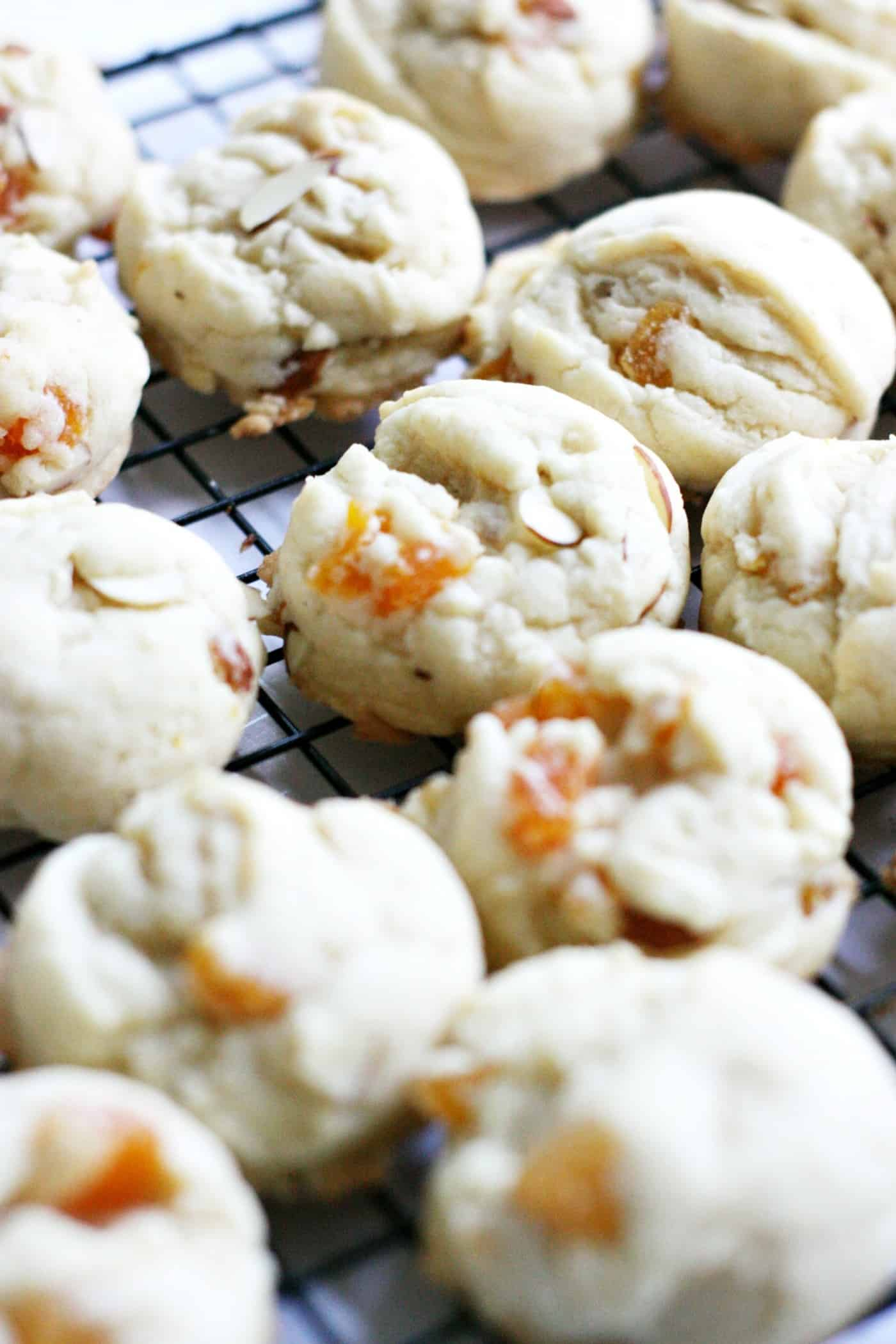 Combine sweet fruit with crunchy almonds and rich dark chocolate - you have the perfect, decadent apricot cookies for year-round indulging!