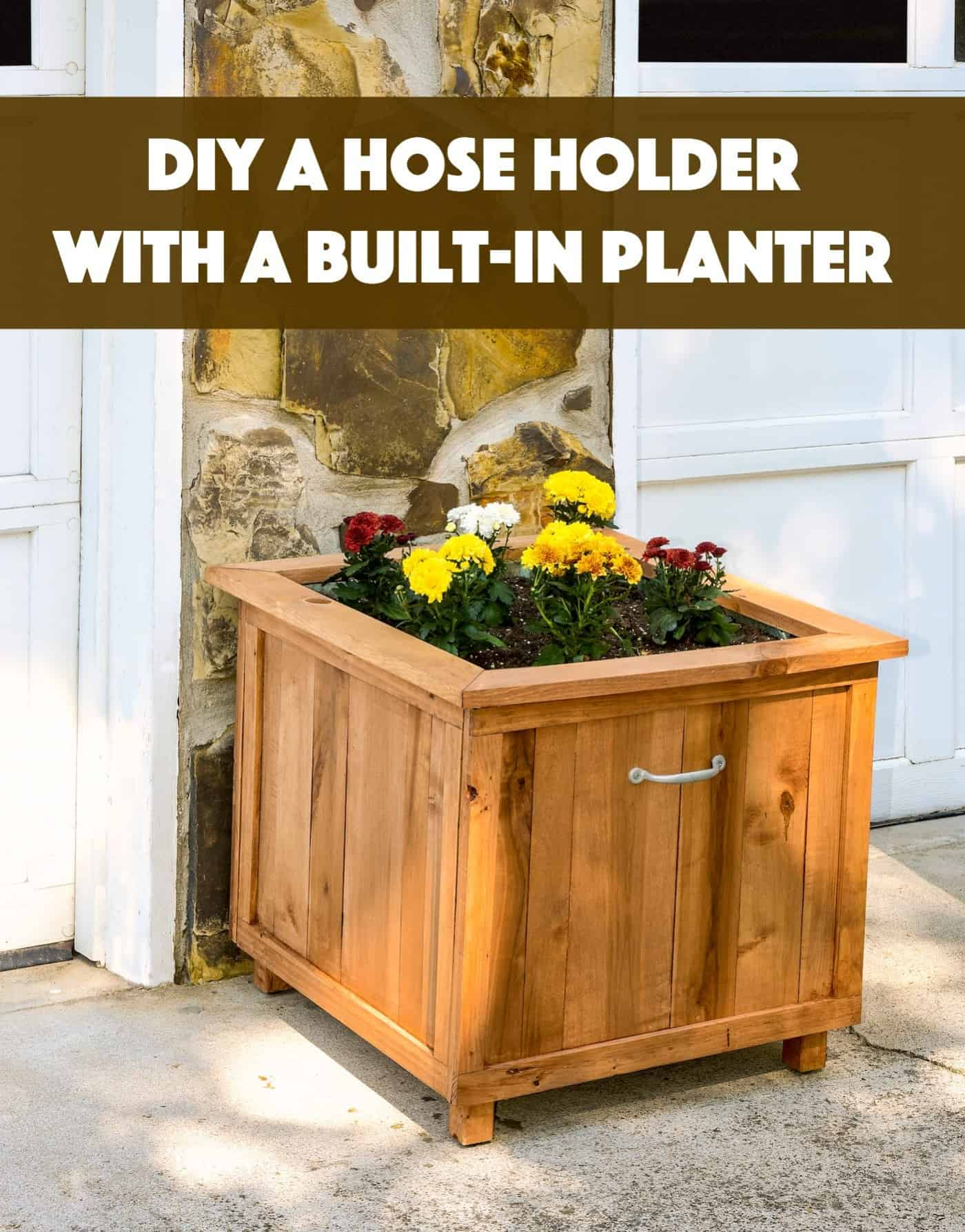 DIY Hose Holder with Pallet Wood Planter