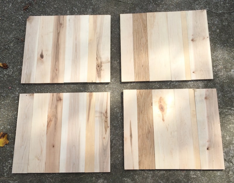 Use a miter saw to cut your planed pallet planks to 17 lengths. Lay them  out  they will be varying widths, which is fine.