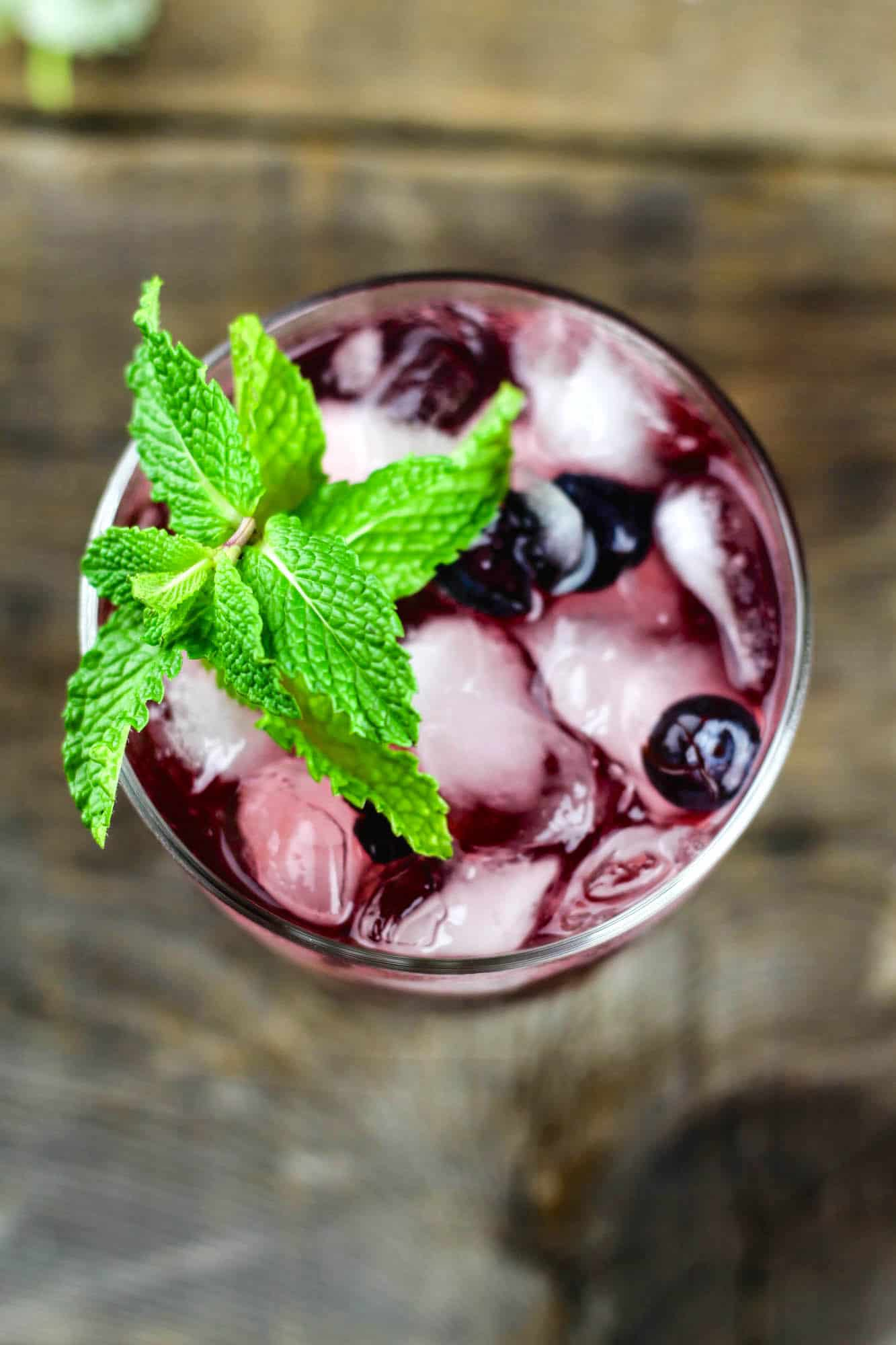Easy mint, blueberry, and cherry vodka sour recipe