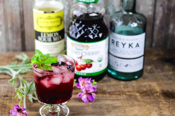 Easy Cherry Vodka Sour with Mint & Blueberry