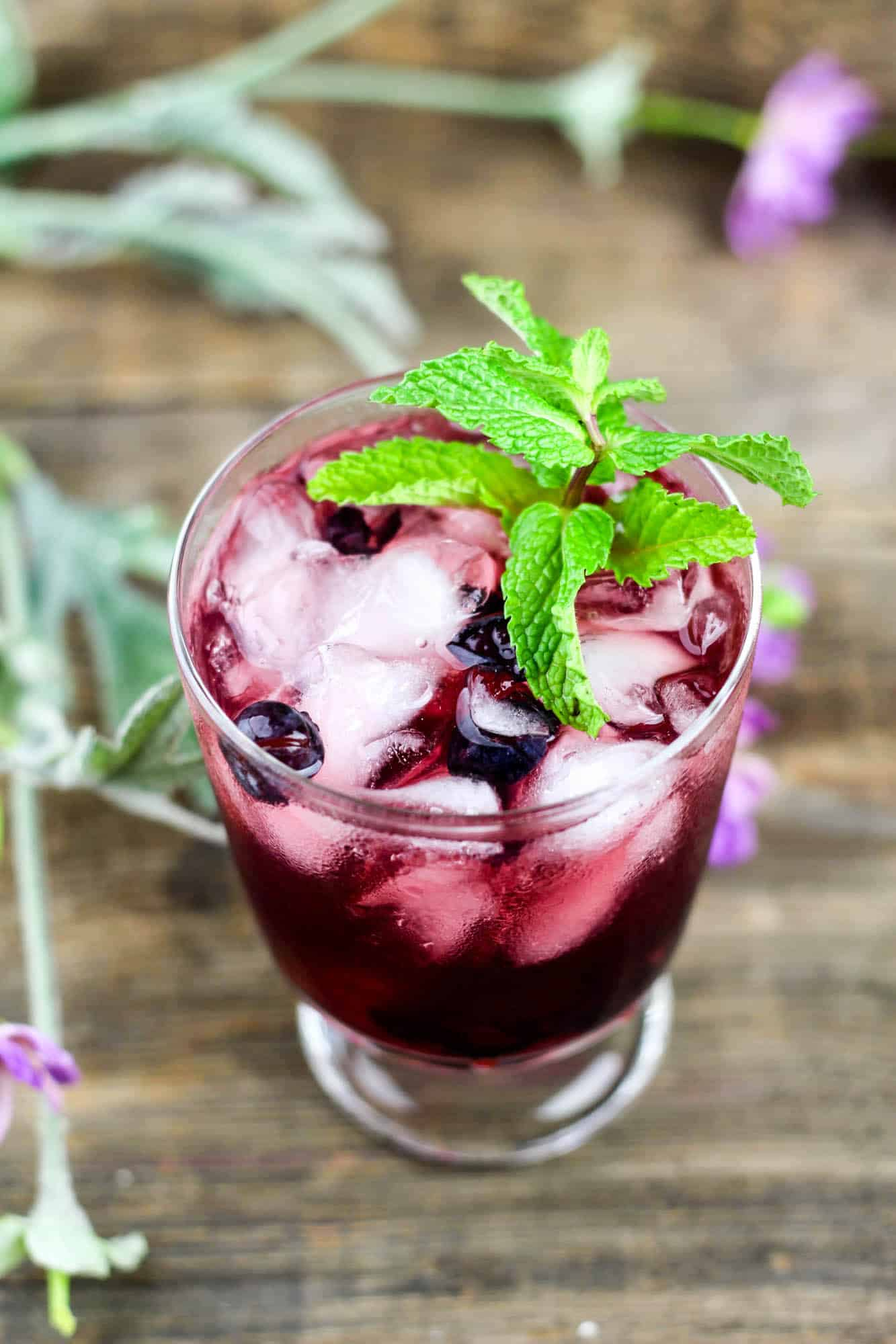 Cherry Vodka Sour with Mint & Blueberry