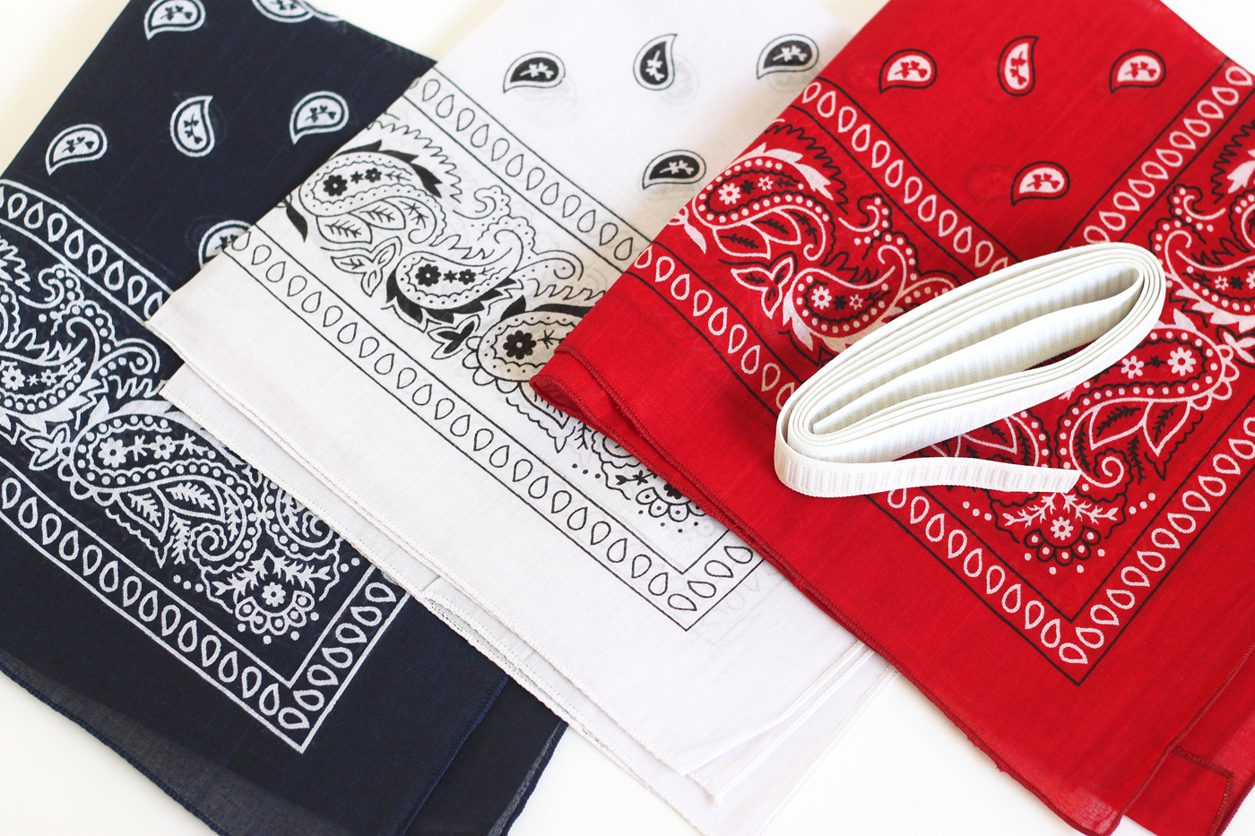 Red, white, and blue bandanas with elastic