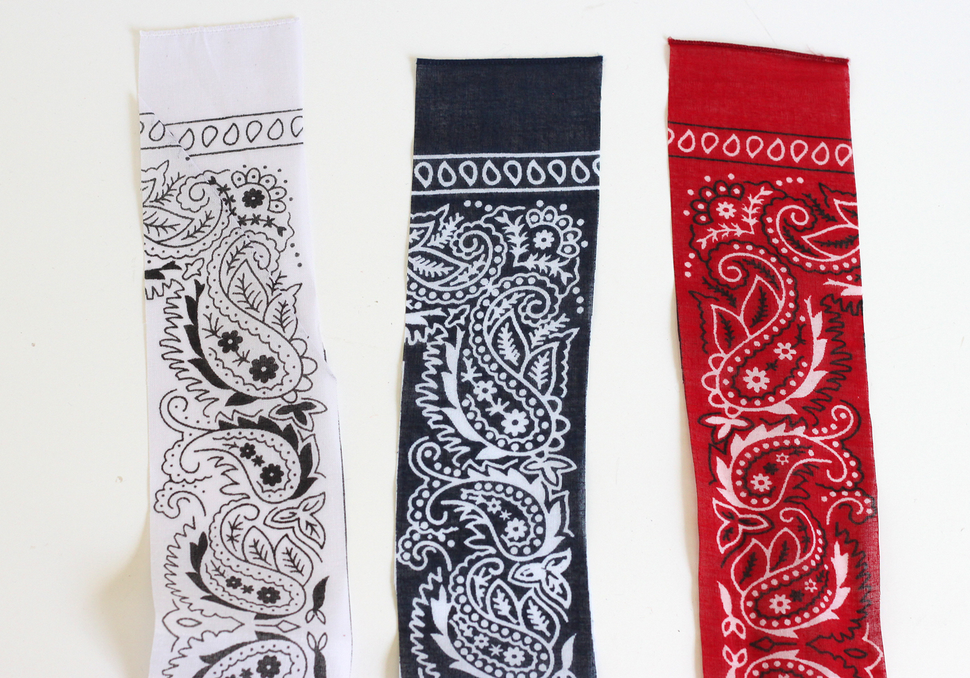 3-inch white strips of red, white, and blue bandanas