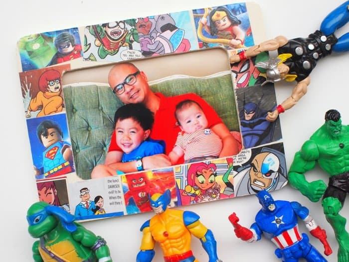 Is your dad a superhero? Make him this cool comic book frame as a gift! It's a fun, budget friendly project that any guy will love.