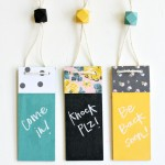 Use Mod Podge Clear Chalkboard Finish to decorate these modern door hangers! Make them in any pattern and color palette to match your decor.
