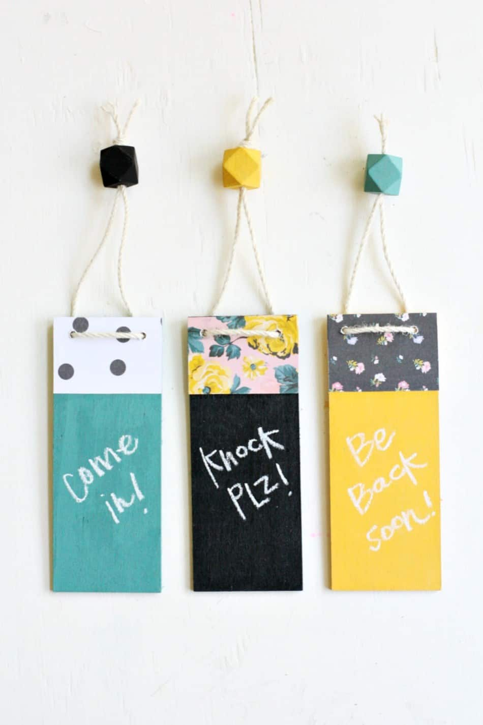 DIY Door Hangers with a Writable Chalkboard Surface