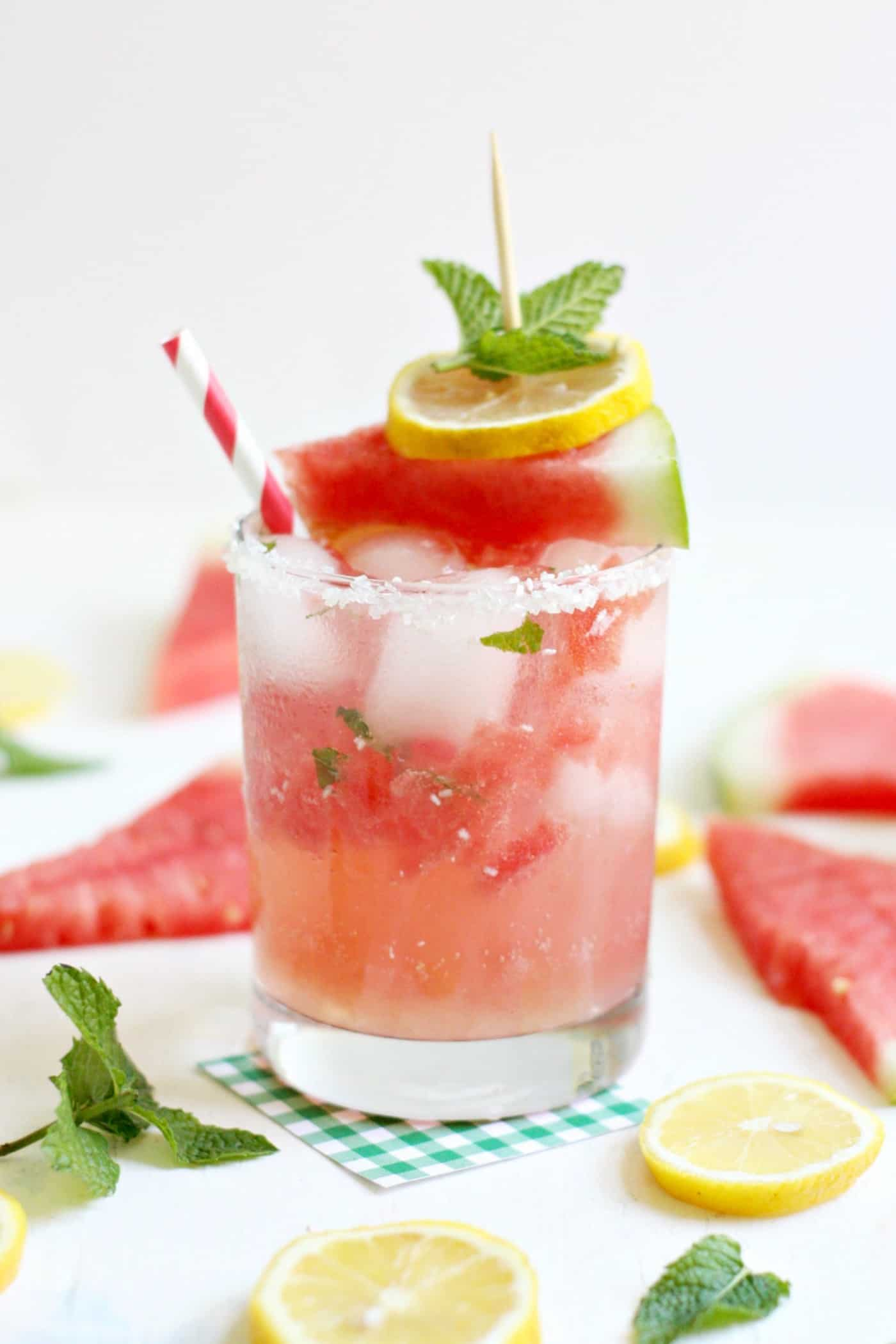 This homemade lemonade recipe combines some of the most delicious flavors of summer: sweet watermelon, tart lemon, and the cool flavor of mint!