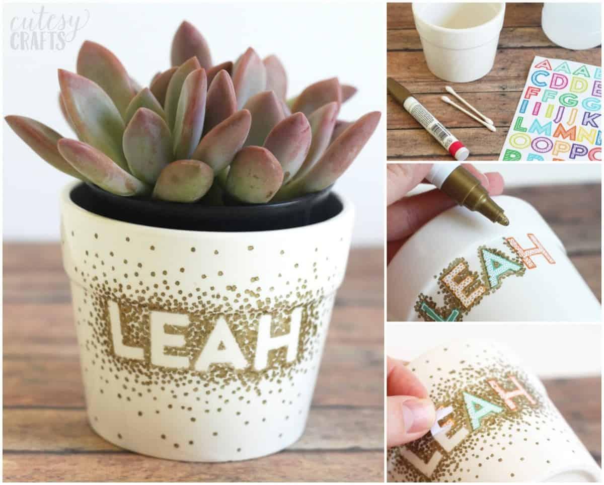 Sharpie Dot Flower Pot Craft Diycandy Com