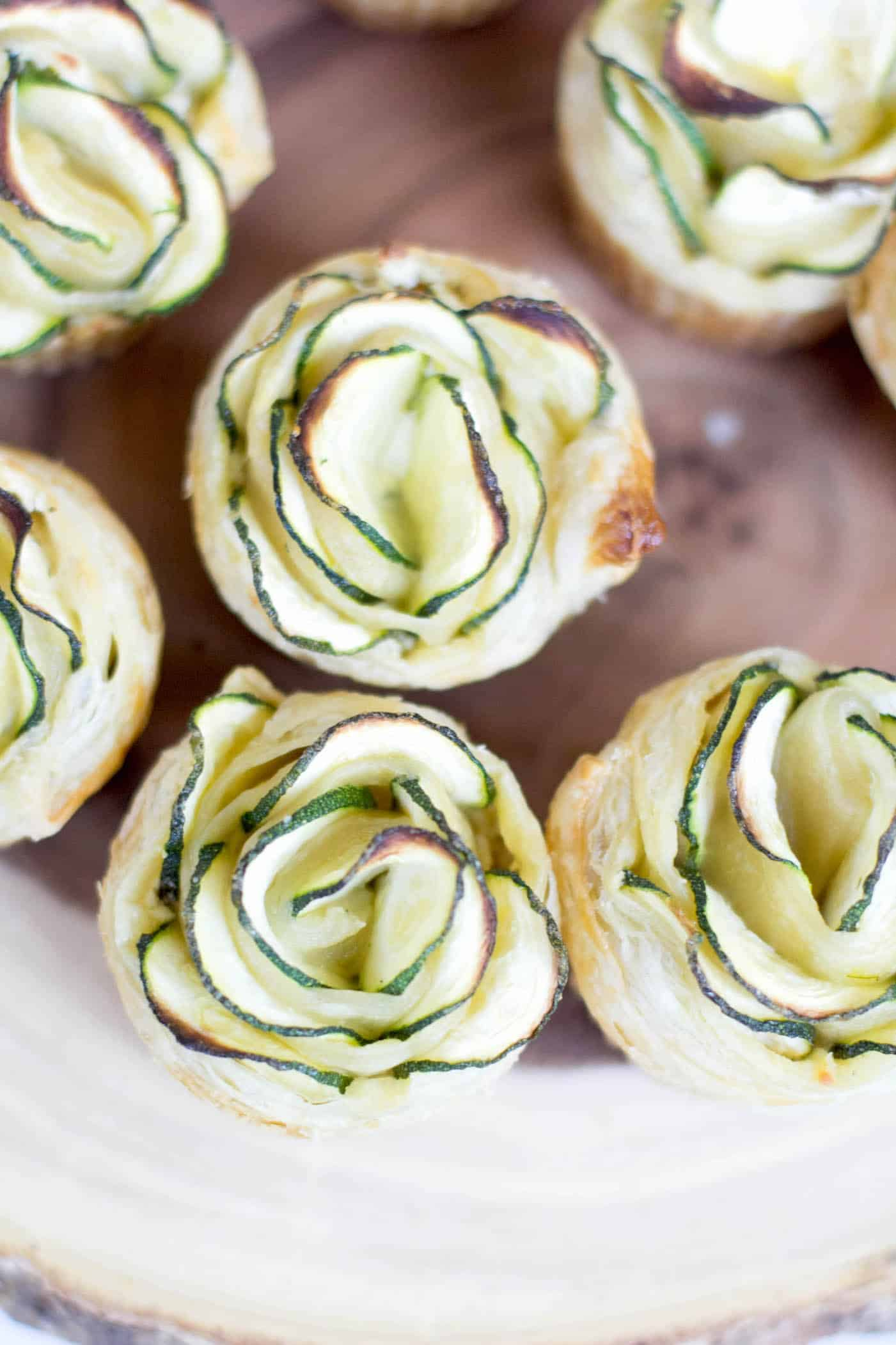 Puff pastry party appetizers shaped like flowers