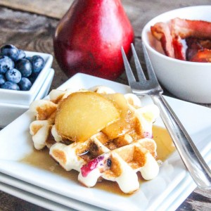 Baked Pears, Bacon & Chocolate Chip Waffles Recipe