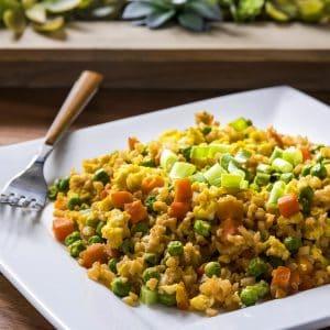 Cauliflower rice recipe - fried rice with veggies